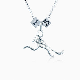 Sterling Silver Square Number Bead & Silver Plated Hockey Girl (Stick Figure) Necklace