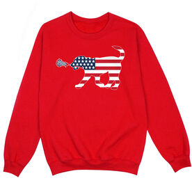 Girls Lacrosse Crew Neck Sweatshirt - Patriotic LuLa the Lax Dog