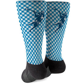 Guys Lacrosse Printed Mid-Calf Socks - Gingham Laxer