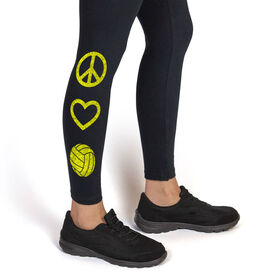 Volleyball Leggings Peace Love Volleyball