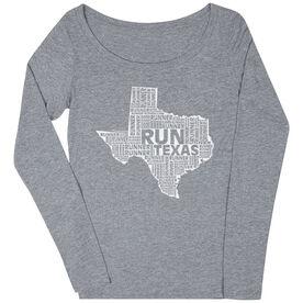 Women's Scoop Neck Long Sleeve Runners Tee Texas State Runner