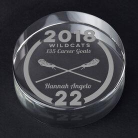 Girls Lacrosse Personalized Engraved Crystal Gift - Custom Team Award