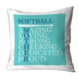 Softball Throw Pillow - Mother Words
