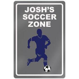 "Soccer Aluminum Room Sign Soccer Zone Boy (18"" X 12"")"