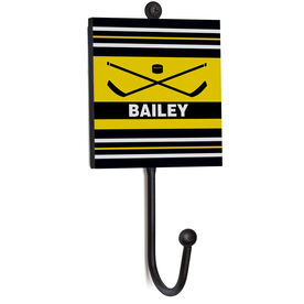 Hockey Medal Hook - Hockey Crossed Sticks With Name