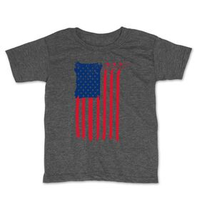 Hockey Toddler Short Sleeve Tee - American Flag (Destressed)
