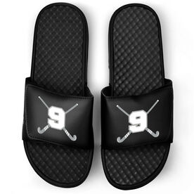 Field Hockey Black Slide Sandals - Crossed Field Hockey Sticks with Numbers
