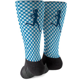Running Printed Mid-Calf Socks - Runner Girl with Gingham Pattern
