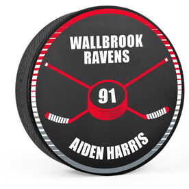 Personalized Hockey Puck - Crossed Sticks and Hockey Puck