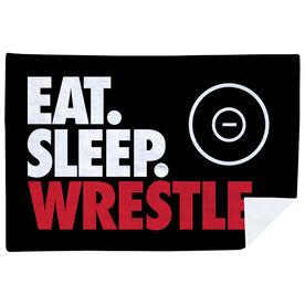 Wrestling Premium Blanket - Eat. Sleep. Wrestle. Horizontal