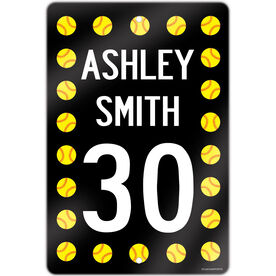 "Softball Aluminum Room Sign Personalized Softball Speed Sign (18"" X 12"")"