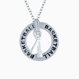 Basketball Jersey Number Message Ring Necklace