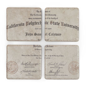 Personalized Stone Coasters Set of Four - Diploma