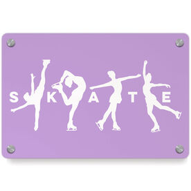 Figure Skating Metal Wall Art Panel - Skate With Silhouettes