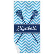 Girls Lacrosse Premium Beach Towel - Personalized Sticks Chevron