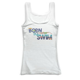 Swimming Vintage Fitted Tank Top - Born To Swim