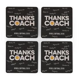 Softball Stone Coasters Set of Four - Coach (Autograph)
