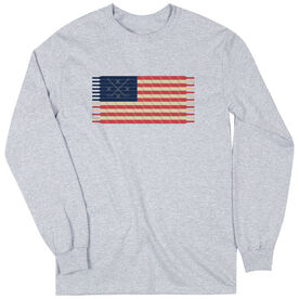 Hockey Tshirt Long Sleeve Hockey Laces Flag