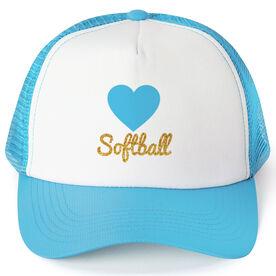Softball Trucker Hat Heart with Glitter
