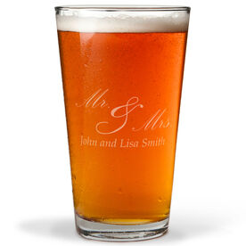 Personalized 16 oz. Beer Pint Glass - Mr. And Mrs. Elegant