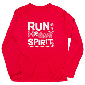 Men's Running Long Sleeve Performance Tee -  Run On Holiday Spirit