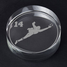 Soccer Personalized Engraved Crystal Gift - Personalized Silhouette (Goalie)