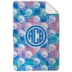 Cheerleading Sherpa Fleece Blanket - Tropical Palm Monogram