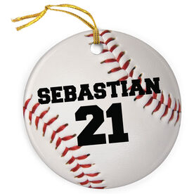 Baseball Porcelain Ornament Personalized on Baseball