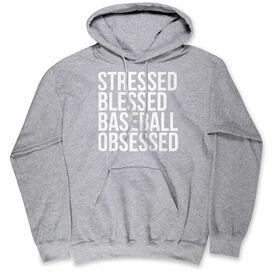 Baseball Hooded Sweatshirt - Stressed Blessed Baseball Obsessed