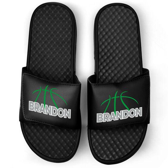 Basketball Black Slide Sandals - Basketball Lines with Name
