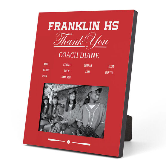 Softball Photo Frame - Thank You Coach Roster