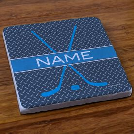 Hockey Stone Coaster Personalized Hockey Crossed Sticks Pattern