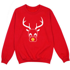 Softball Crew Neck Sweatshirt - softball reindeer