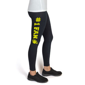 Football High Print Leggings #1 Fan with Football