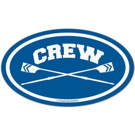 Crew Crossed Oars Oval Car Magnet (Blue)