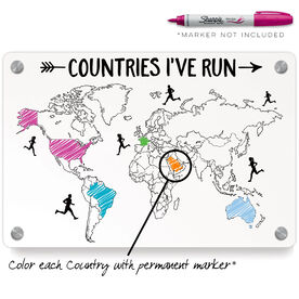 Running Metal Wall Art Panel - Countries I've Run Outline