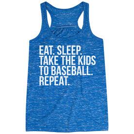 Baseball Flowy Racerback Tank Top - Eat Sleep Take The Kids To Baseball