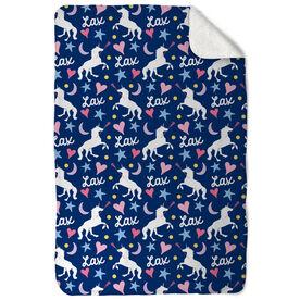 Girls Lacrosse Sherpa Fleece Blanket - Lax Unicorn Pattern