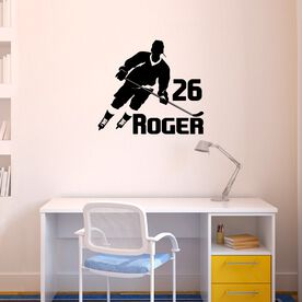 Personalized Hockey Player Rink Turn Removable ChalkTalkGraphix Wall Decal