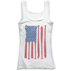 Softball Vintage Fitted Tank Top - American Flag