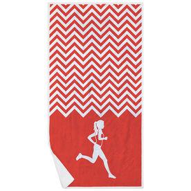 Running Premium Beach Towel - Runner Girl Chevron