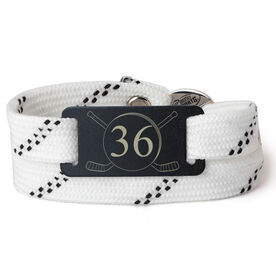 Adjustable Hockey Lace Bracelet With Slider - Number With Crossed Hockey Sticks