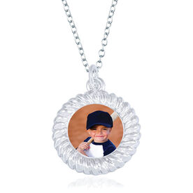 Baseball Braided Circle Necklace - Custom Photo