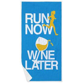 Running Premium Beach Towel - Run Now Wine Later