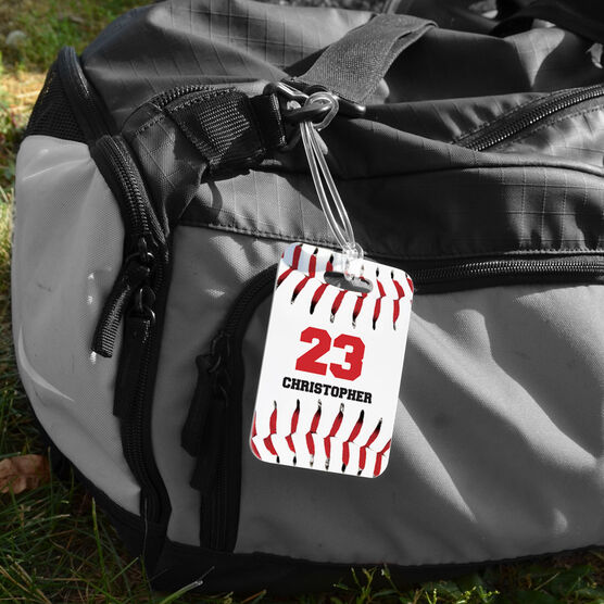 Baseball Bag/Luggage Tag - Personalized Big Number with Baseball