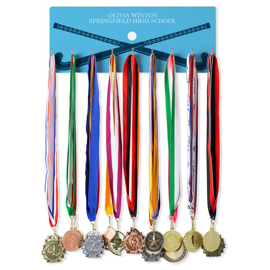 Field Hockey Hooked on Medals Hanger - Personalized Text With Crossed Sticks