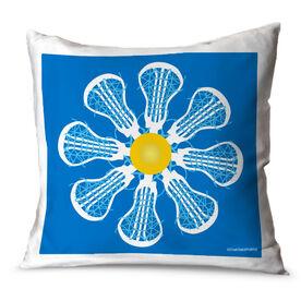 Girls Lacrosse Throw Pillow Lacrosse Flower