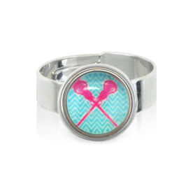 Lacrosse Crossed Sticks Blue SportSNAPS Ring