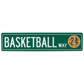"Basketball Aluminum Room Sign - Basketball Way With Number (4""x18"")"