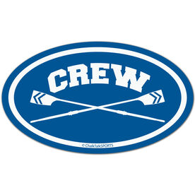 Crew Crossed Oars Oval Car Magnet (Blue)
